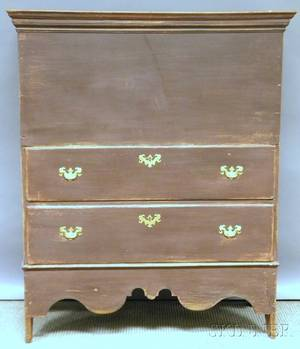 Brownpainted Poplar Blanket Chest over Two Long Drawers