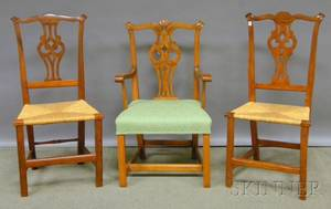 Country Chippendale Carved and Upholstered Maple Armchair and a Pair of Maple Side Chairs with Woven Rush Seats