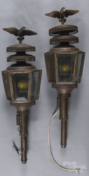 Pair of copper hanging lamps
