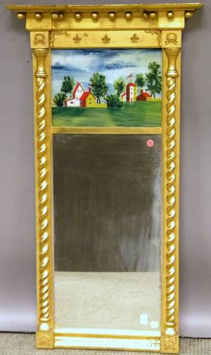 Federalstyle Giltwood Tabernacle Mirror with Reversepainted Glass Tablet Depicting Buildings in a Landscape