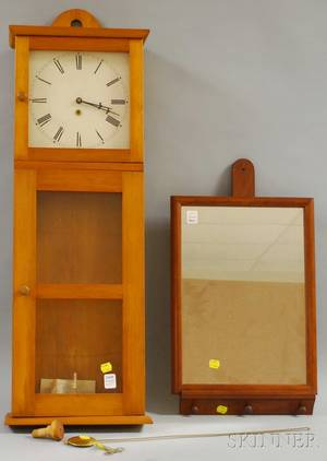 Mason and Sullivan Shakerstyle Pine Wall Timepiece and Walnutframed Mirror with Wall Bracket