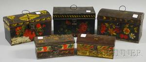 Five Painted and Polychromedecorated Toleware Document Boxes