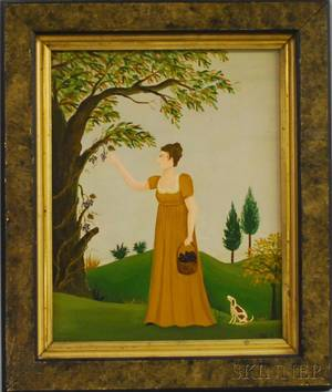Early 19th Centurystyle Oil on Panel Scene of a Woman Picking Grapes with Her Small Dog