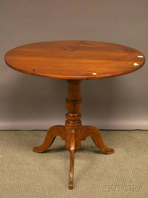 Country Classical Pine and Maple Tilttop Tea Table