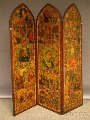 Oakframed Archtop Decoupage Chromolithograph Scrapdecorated Doublesided Threepanel Floor Screen