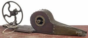 Walnut and brass fireplace bellows