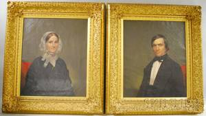 Pair of 19th Century American School Oil on Canvas Portraits of Mr and Mrs Harrison Jones Esq
