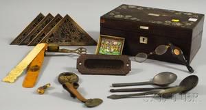 Motherofpearl Inlaid Rosewood Veneer Lap Desk and Other Items