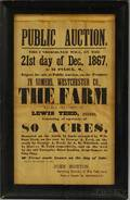 Printed Broadside Public Auction 21st day of Dec 1867in Somers Westchester Co THE FARM