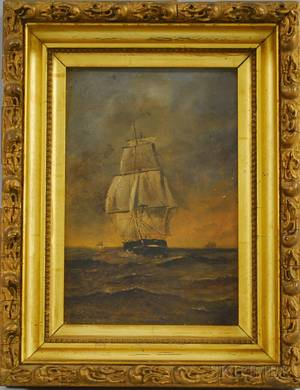 Herbert M Dunham Oil on Panel Portrait of a Sailing Ship
