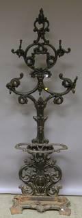 Victorian Blackpainted Cast Iron Hall Tree