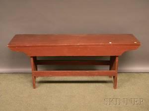 Redpainted Wooden Bucket Bench