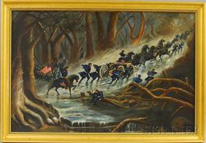 19th Century American School Oil on Canvas Scene Depicting a Union Army Winter March