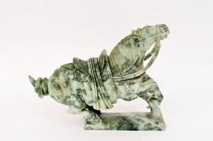 Chinese Carved Spinach Stone Horse