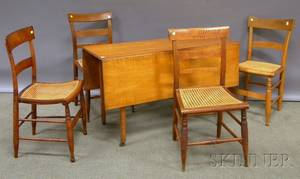 Federal Tiger Maple Dropleaf Table and Four Classical Caned Maple Side Chairs table ht 27 12 lg 46 12 wd 16 78 leaf wd 14 i