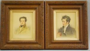 British School 19th Century Two Portraits of Young Gentlemen