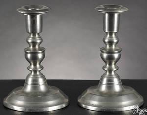 Pair of Westbrook Maine pewter candlesticks ca 1850
