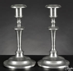 Pair of Dorchester Massachusetts pewter candlesticks ca 1840