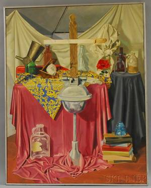 American School 20th Century Photorealist Still Life with Bottles