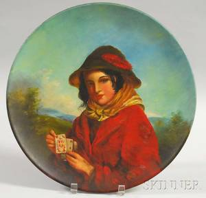 Galloway and Graff Painted Terracotta Plaque of a Young Woman Holding a Queen of Hearts Card