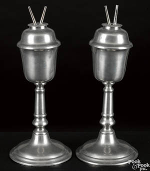 Pair of New England pewter fluid lamps earlymid 19th c
