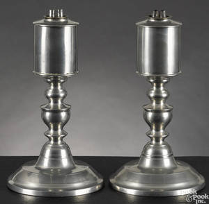 Pair of Westbrook Maine pewter fluid lamps ca 1845