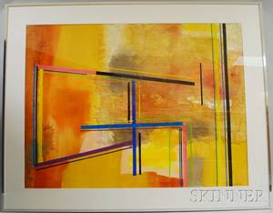 Two Framed Modern Mixed Media Works