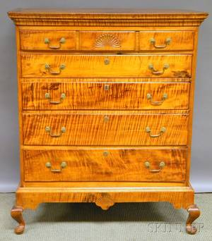 Queen Anne Carved Tiger Maple Fivedrawer Flattop High Chest on Frame