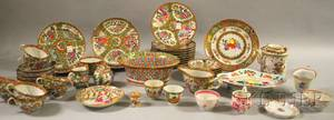 Approximately Fortysix pieces of Chinese Export Porcelain Rose Medallion Tableware and Six Assorted Pieces of Chinese Export