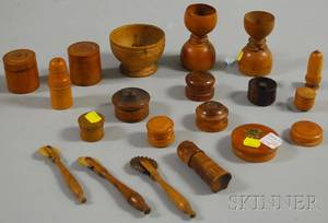 Seventeen Small Turned Wood Items and Three Jagging Wheels