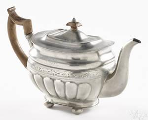 Beverly Massachusetts engraved pewter teapot ca 1830