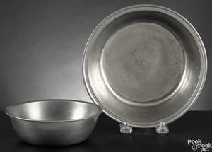 Two Springfield Vermont pewter basins ca 1810