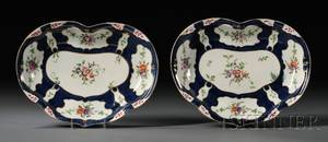 Pair of Worcester Porcelain Scale Blue Heartshaped Dishes