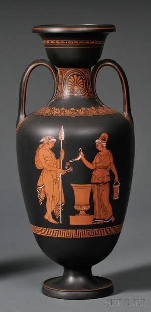Wedgwood Encausticdecorated Black Basalt Vase