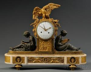 Patinated Bronze Giltbronze and Marble Mantel Clock