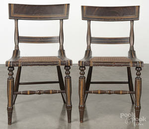 Pair of Maryland painted cane seat side chairs