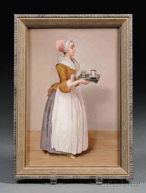 Meissen Handpainted Porcelain Plaque of La Belle Chocolatiere