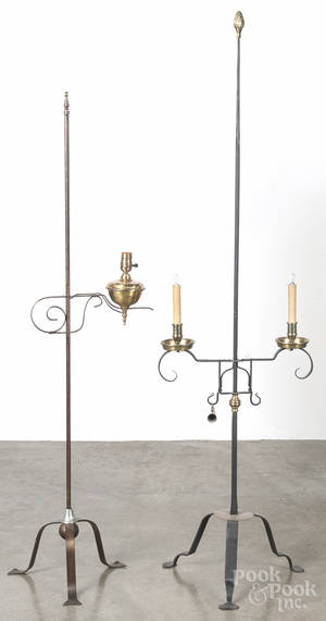 Two iron and brass candlestand floor lamps