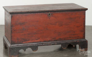 Diminutive painted pine blanket chest 19th c