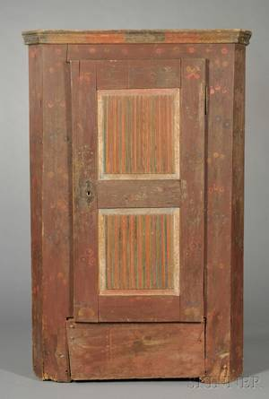 Bavarian Painted Pine Singledoor Armoire