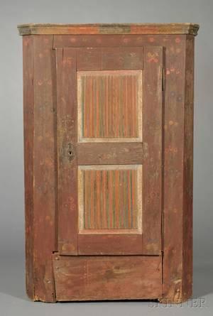 Bavarian Painted Pine Singledoor Armoire