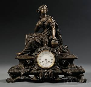 Figural Bronze Mantel Clock