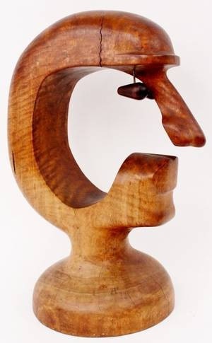 Modernist Carved Wood Sculpture of a Face