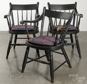 Set of six Pennsylvania painted lowback armchairs