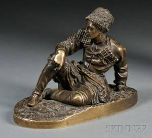 After Evgeni Alexandrovich Lanceray Russian 18481886 Bronze Figure of a Cossack Soldier