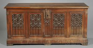 Gothic Revival Carved Oak Chest