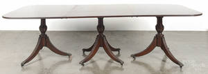 Federal style mahogany triplepedestal dining table
