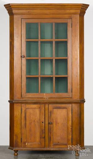 Pennsylvania pine twopart corner cupboard