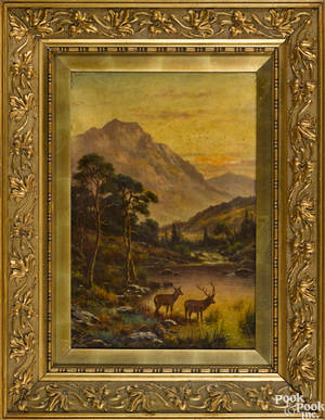 Oil on canvas mountainous landscape 19th c