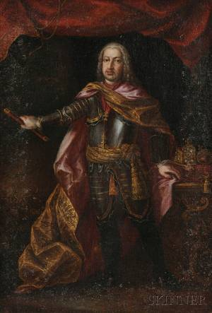 Continental School 19th Century Portrait of a Gentleman in Armor in the 18th Century French Manner